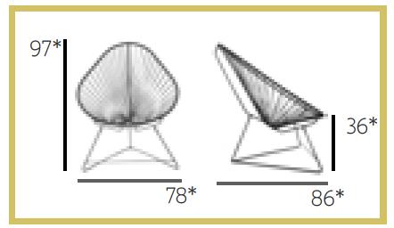 BOQA fauteuil Acapulco dimensions